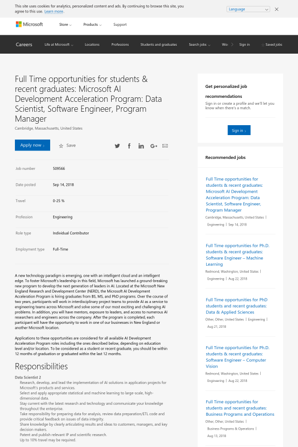 opportunities for students recent graduates microsoft ai