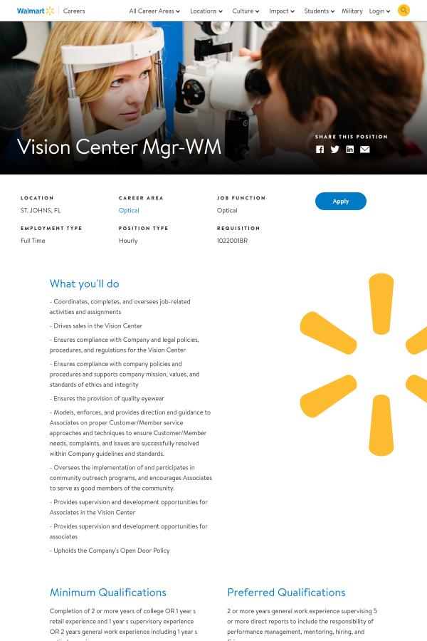 Vision Center Manager - WM job at Walmart in Florida, USA
