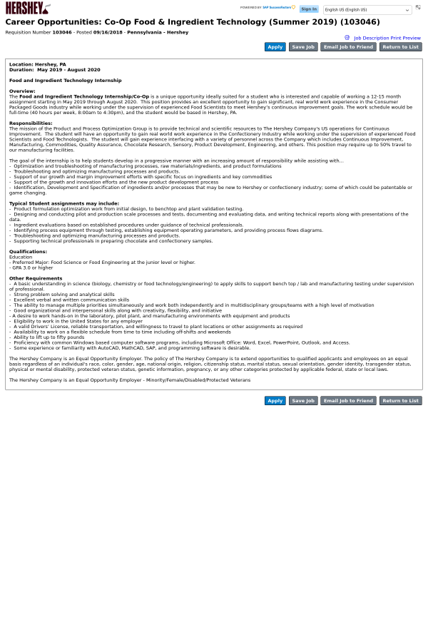 Co Op Food Ingredient Technology Summer Job At The Hershey
