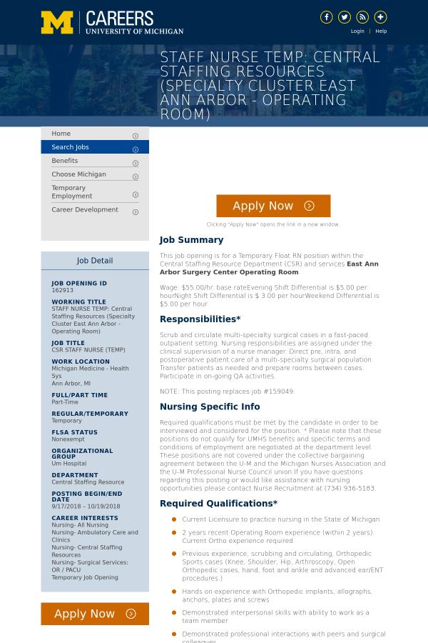 Csr Staff Nurse Temp Job At University Of Michigan In Ann Arbor