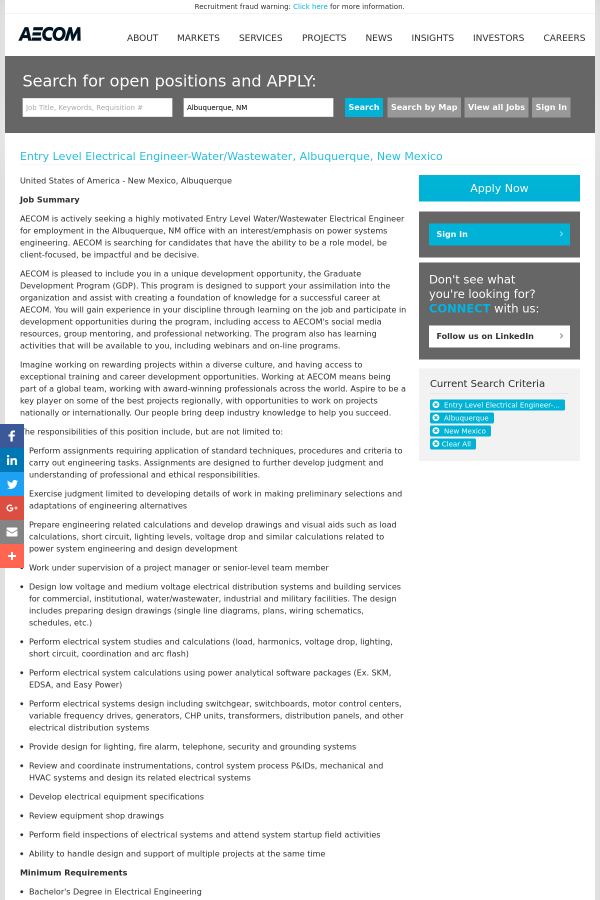 Entry Level Electrical Engineer Water Wastewater Job At Aecom