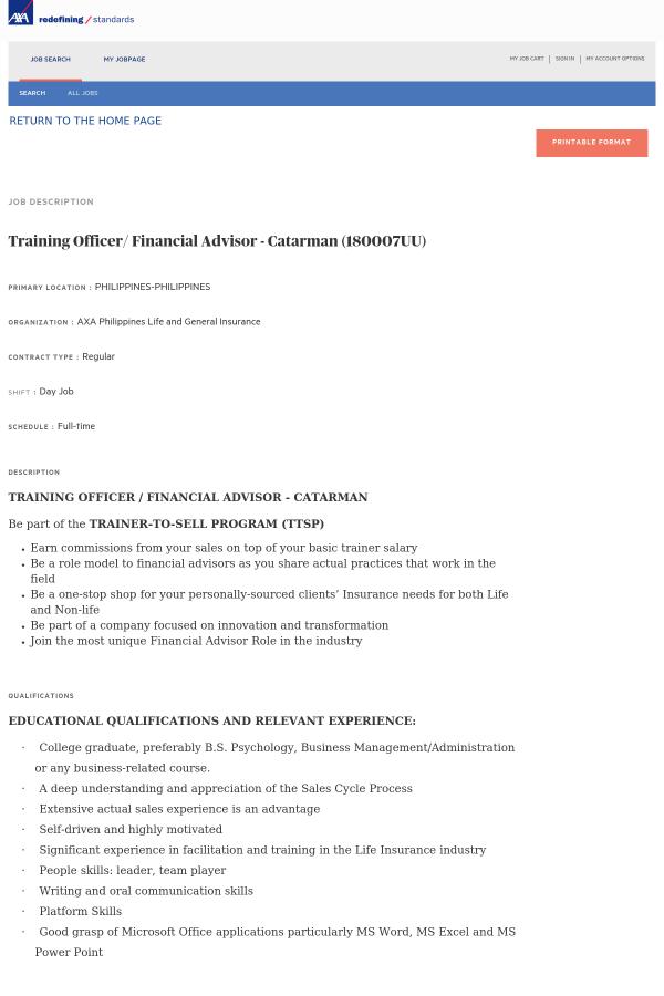Training Officer / Financial Advisor job at AXA in