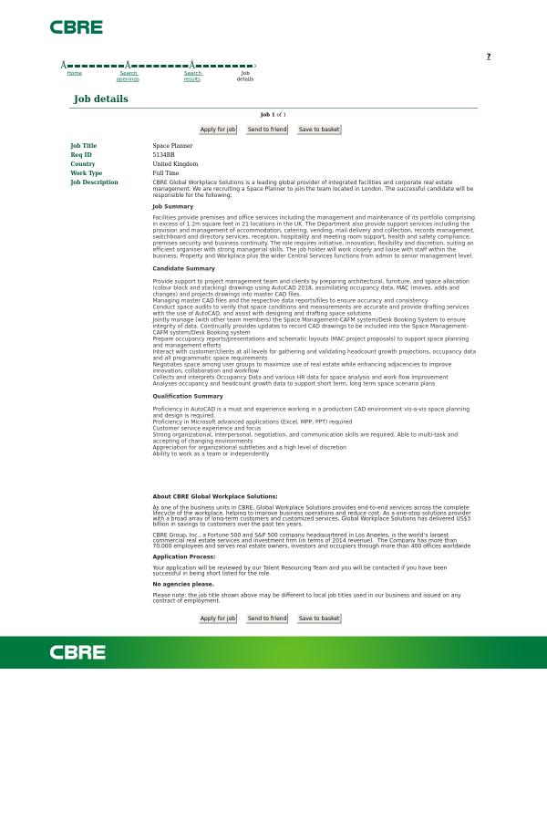 Space Planner job at CBRE in United Kingdom - 14503151 | Tapwage Job