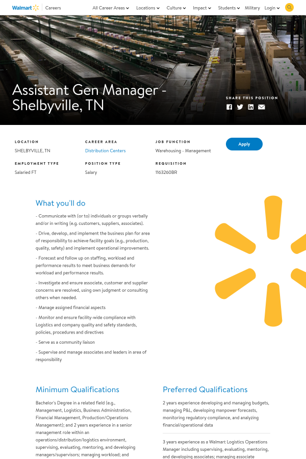 Assistant Gen Manager Shelbyville Tn Job At Walmart In
