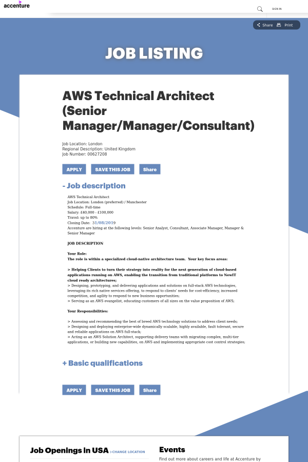 AWS Technical Architect (Senior Manager / Manager / Consultant) job