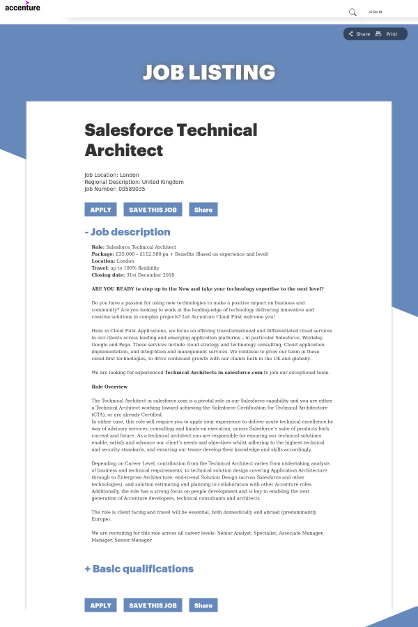 Salesforce Technical Architect job at Accenture in London