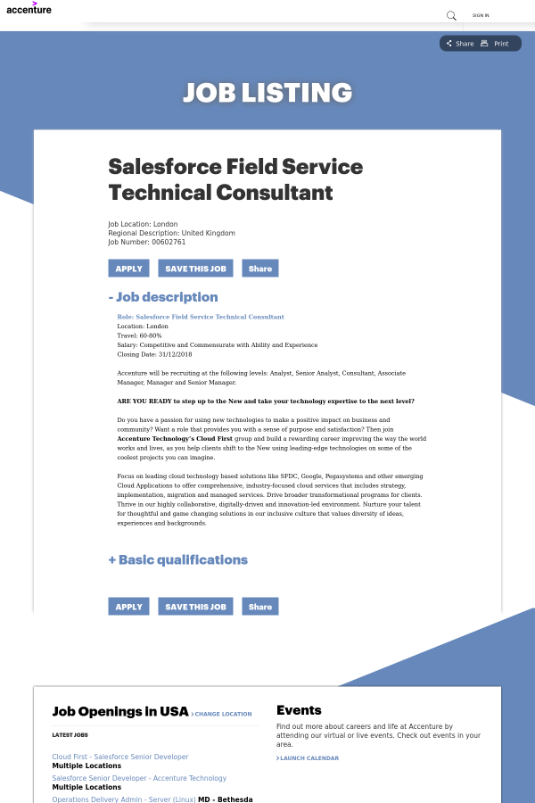 Salesforce Field Service Technical Consultant job at
