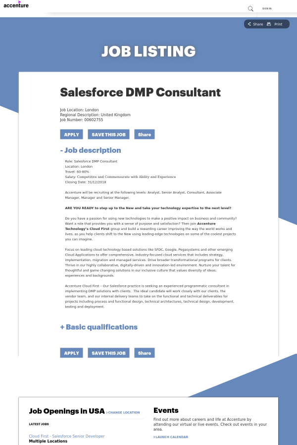 Salesforce DMP Consultant job at Accenture in London, United