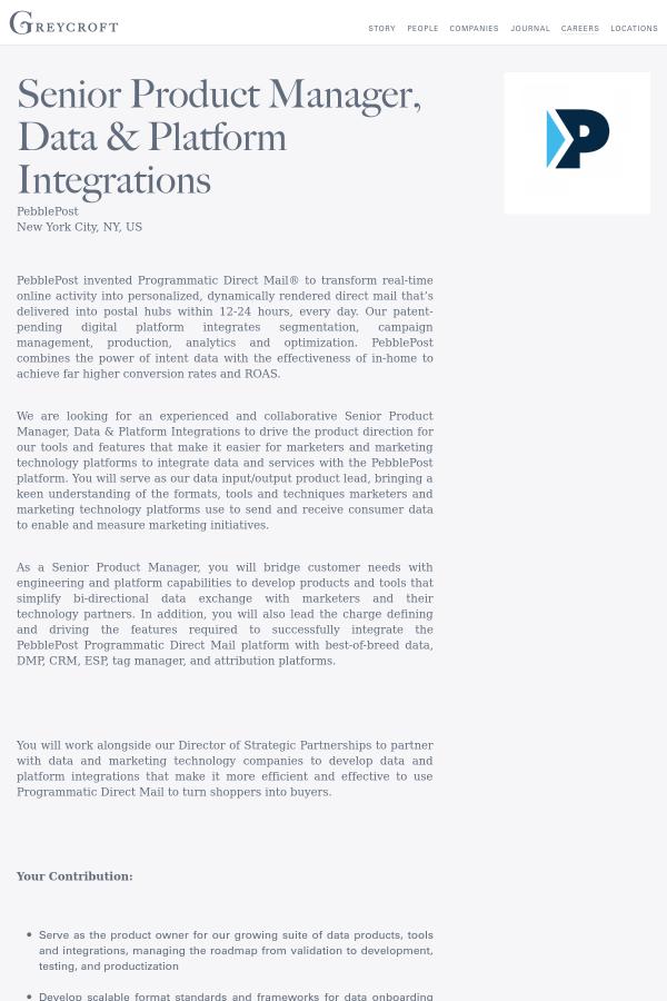 Senior Product Manager Data Platform Integrations Job At