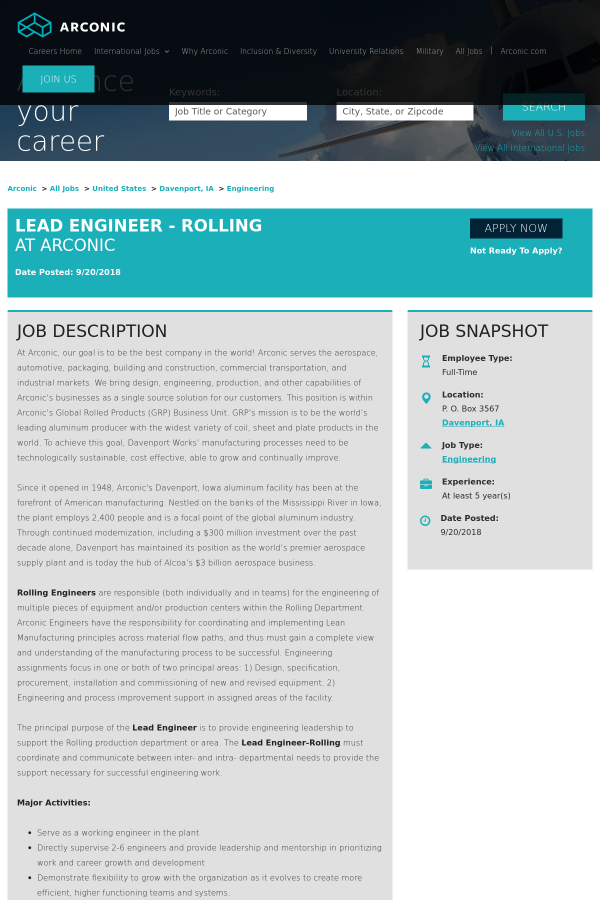 Lead Engineer - Rolling job at Arconic in Davenport, IA