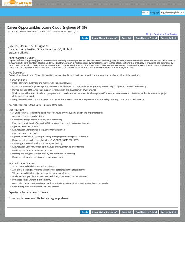 Azure Cloud Engineer job at Sagitec in Denver, CO - 14537259