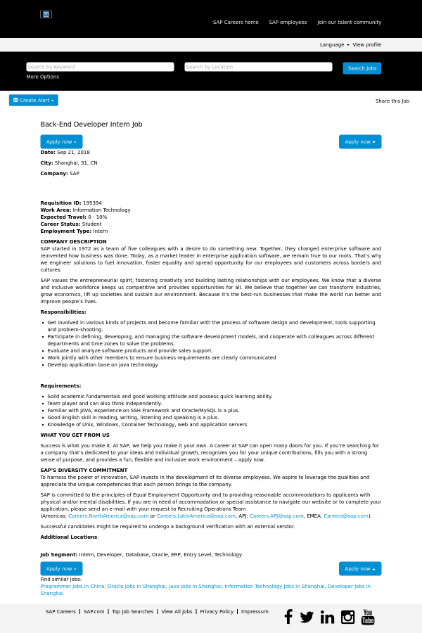 Back-End Developer Intern job at SAP in Shanghai, China - 14539487