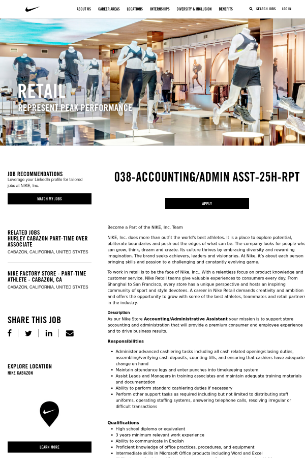 038 Accounting Admin Assistant 25h Rpt Job At Nike In