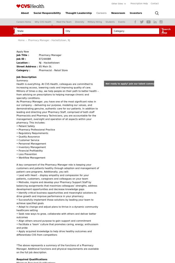 pharmacy manager job at cvs health in hackettstown nj 14561562