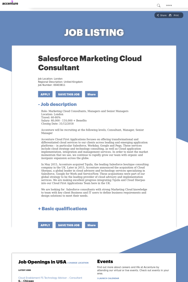 Salesforce Marketing Cloud Consultant job at Accenture in London