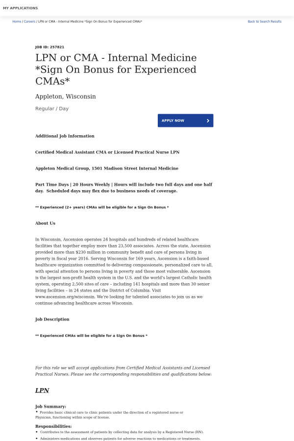 lpn or cma - internal medicine * sign on bonus for experienced cmas ...