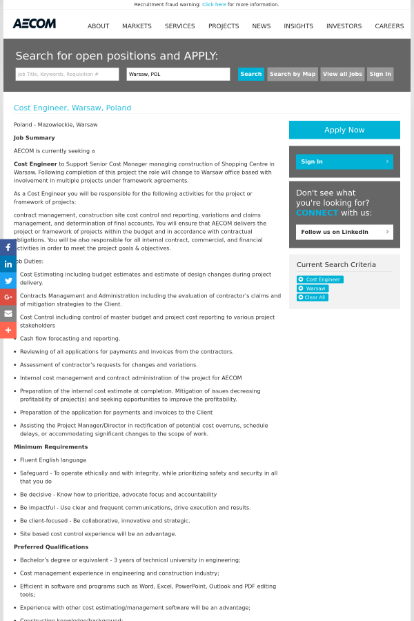 Cost Engineer Job At Aecom Technology Corporation In Warsaw Poland