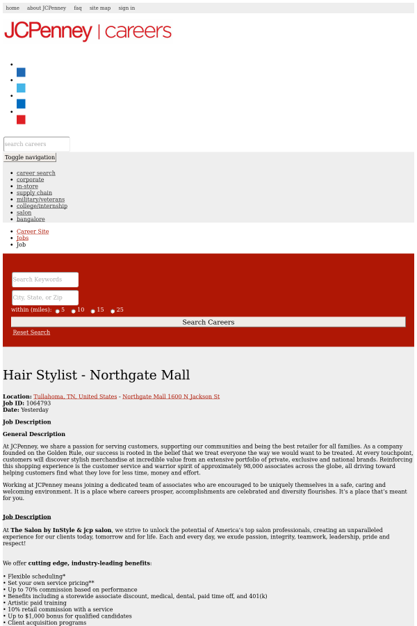 Hair Stylist Northgate Mall Job At Jcpenney In Tullahoma Tn