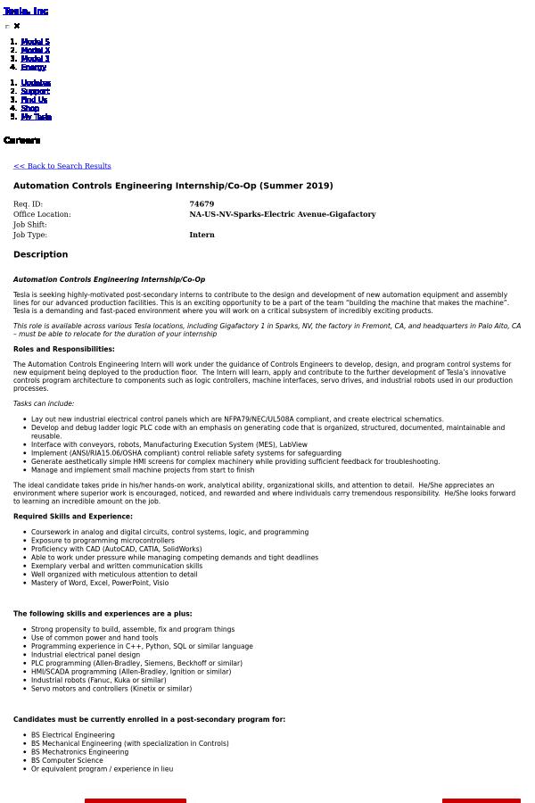 Automation Controls Engineering Internship / Co-op (Summer