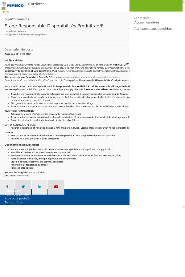 Stage Responsable Disponibilites Produits H F Job At Pepsico In