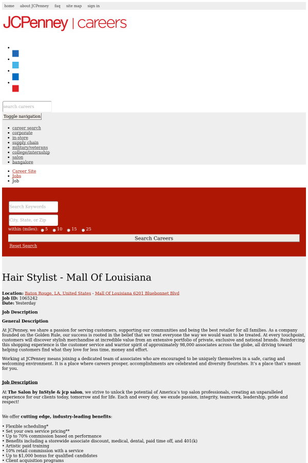 Hair Stylist Mall Of Louisiana Job At Jcpenney In Baton Rouge La