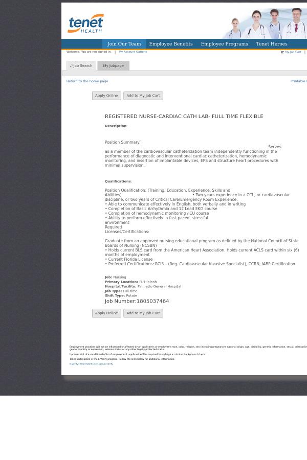 Registered Nurse - Cardiac CATH Lab - Flexible job at Tenet ...