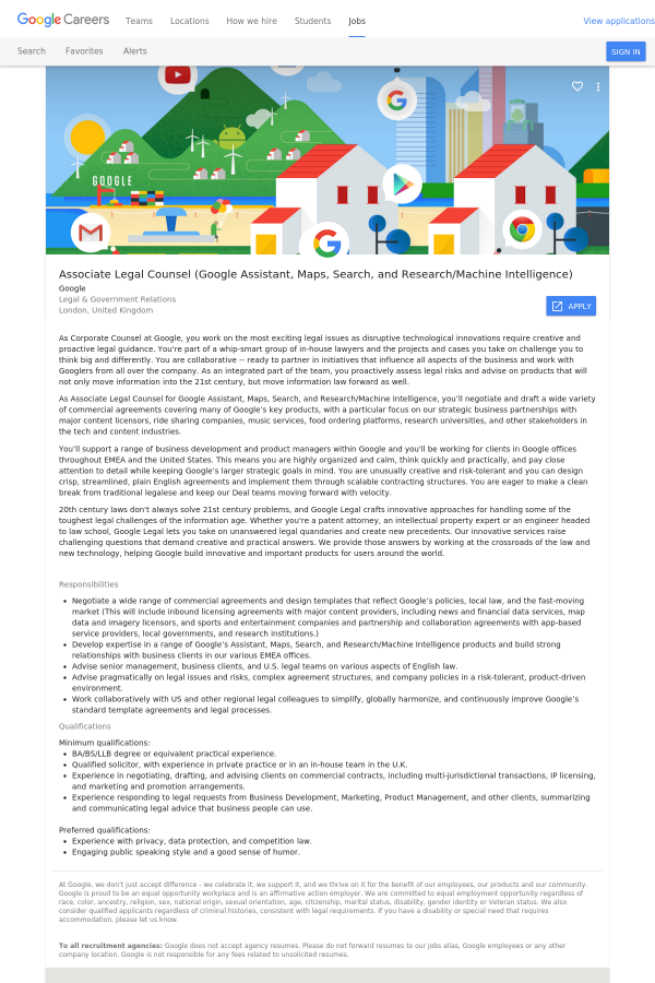 Associate Legal Counsel Google Assistant Maps Search And