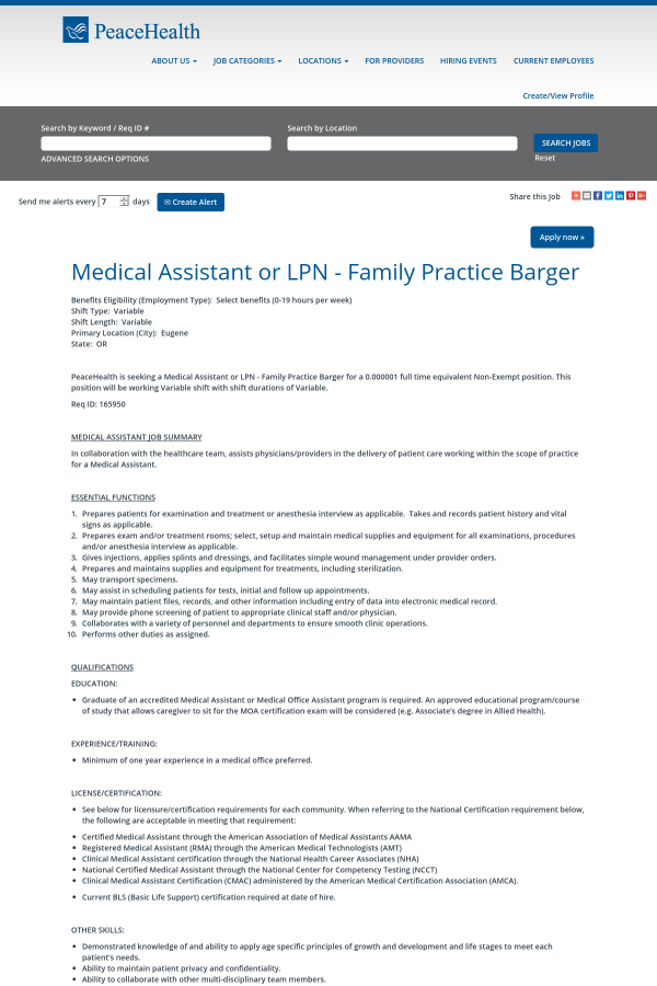 Medical Assistant Or Lpn Family Practice Barger Job At Peacehealth