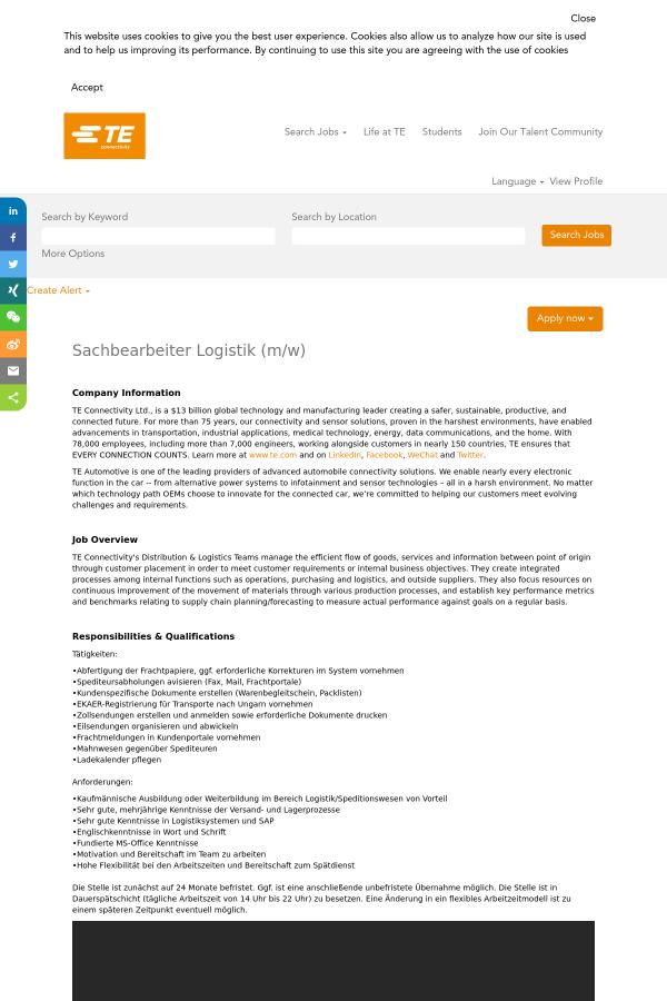 Sachbearbeiter Logistik (m/w) job at TE Connectivity in Wört ...