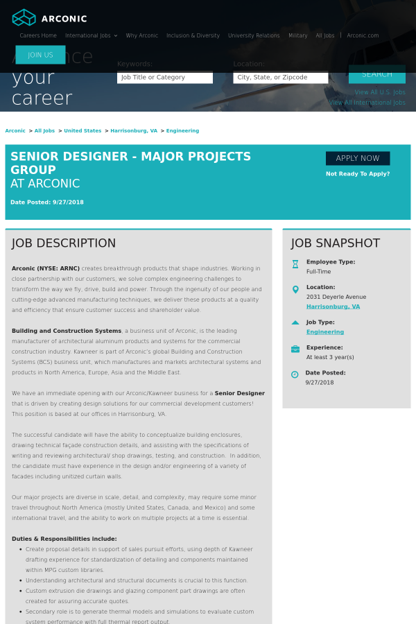 Senior Designer Major Projects Group Job At Arconic In