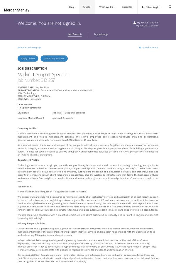 Madrid IT Support Specialist job at Morgan Stanley in Madrid