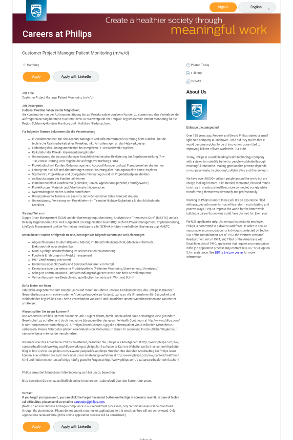 Customer Project Manager Patient Monitoring (m/w / D) job at Philips ...
