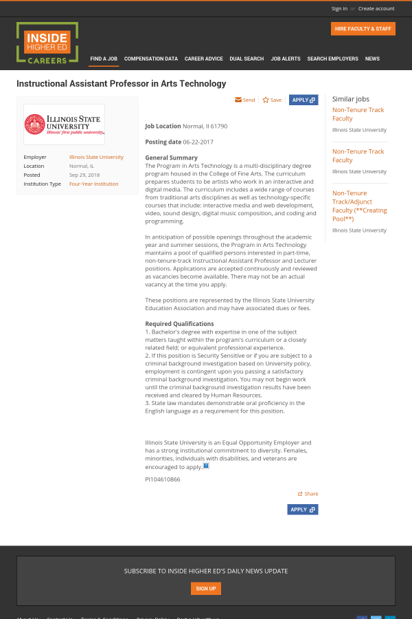 Instructional Assistant Professor In Arts Technology Job At Illinois