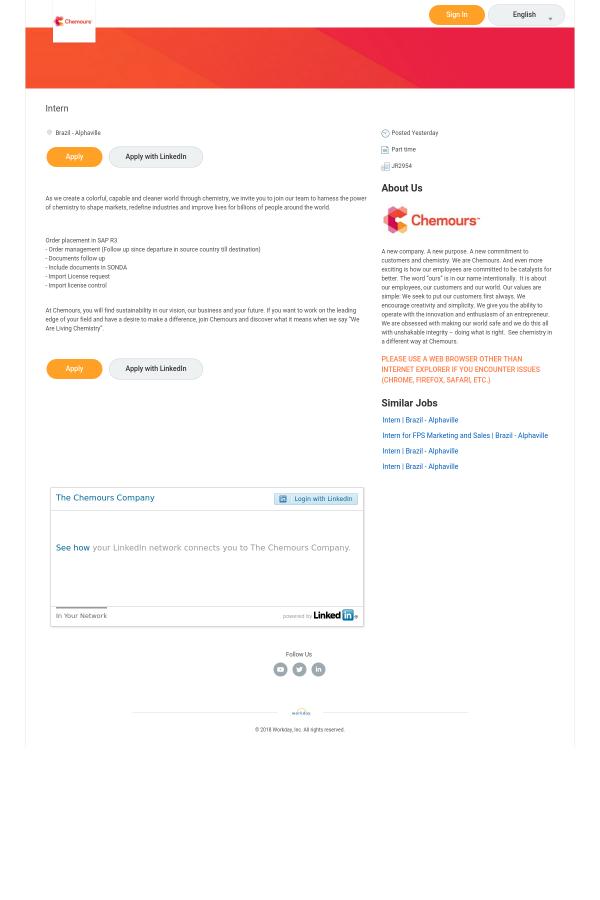 Intern job at Chemours in Brazil - 14703198   Tapwage Job Search
