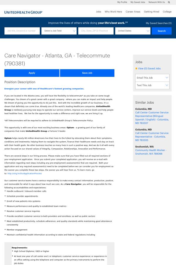 Care Navigator Job At Unitedhealth Group In Atlanta Ga 14704123