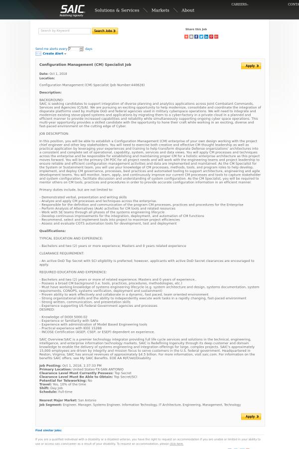 Configuration Management Cm Specialist Job At Saic In San Antonio