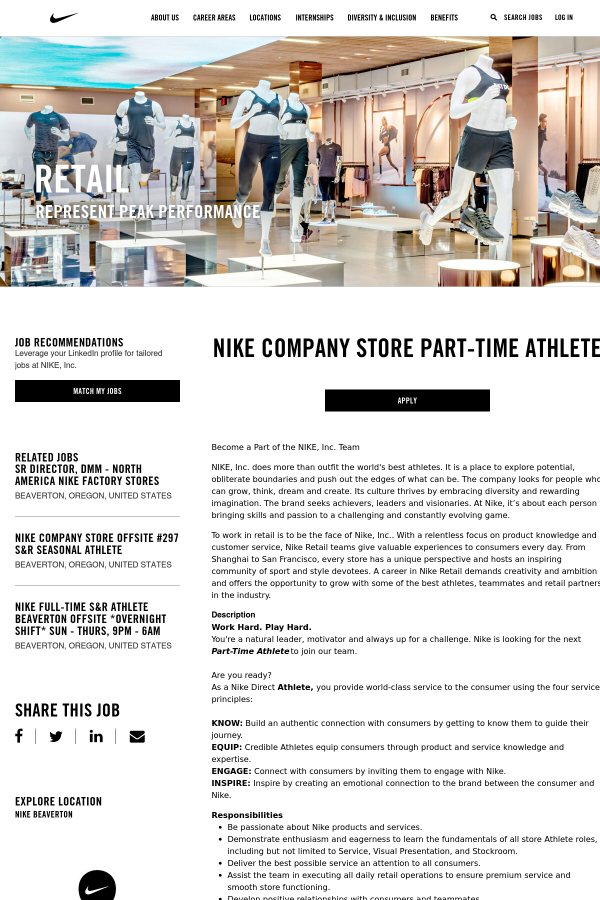 Rifiutare compagno Arthur Conan Doyle  Nike Company Store Athlete job at Nike in Beaverton, OR - 14705251 |  Tapwage Job Search