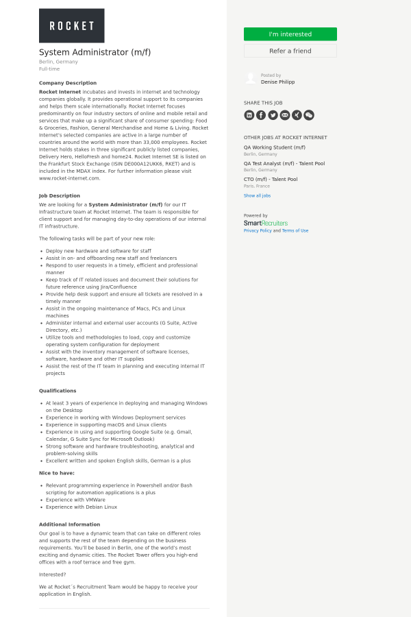 System Administrator Mf Job At Rocket Internet In Berlin