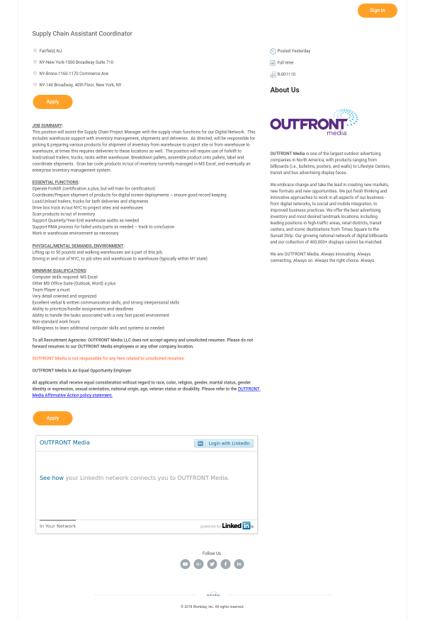 Supply Chain Assistant Coordinator Job At Outfront Media In New York