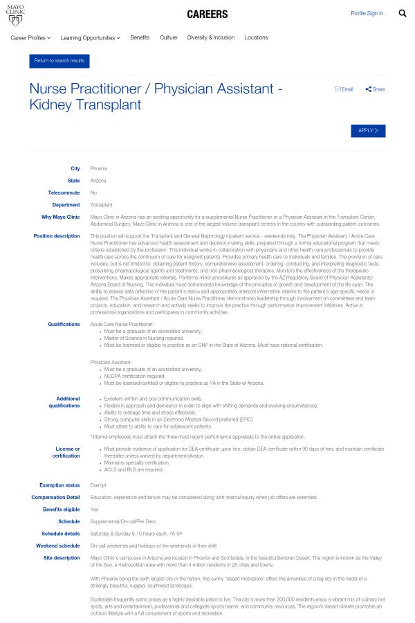 Nurse Practitioner Physician Assistant Kidney Transplant Job At
