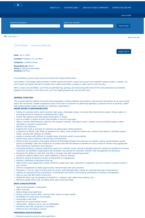 LensCrafters - Licensed Optician job at Oakley in Danbury, CT ...