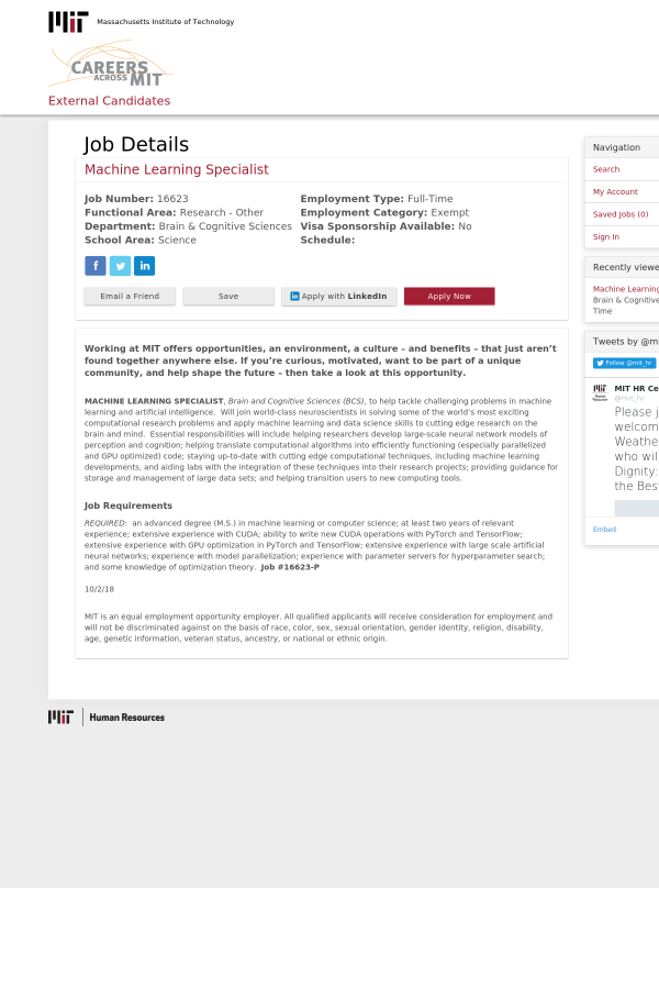 Machine Learning Specialist job at MIT in Cambridge, MA
