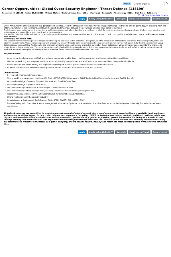 Global Cyber Security Engineer - Threat Defense job at Under