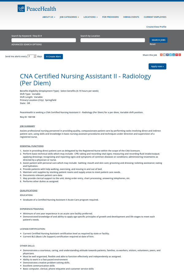 Cna Certified Nursing Assistant Ii Radiology Job At Peacehealth In