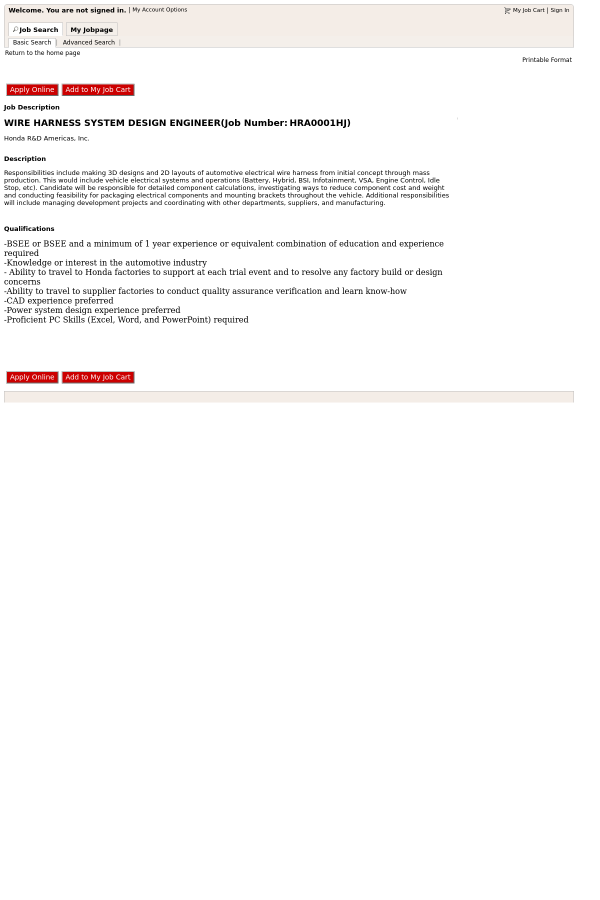 wire harness system design engineer job at honda in raymond oh rh tapwage com Wire Harness Assembly Boards Wire Harness Assembly