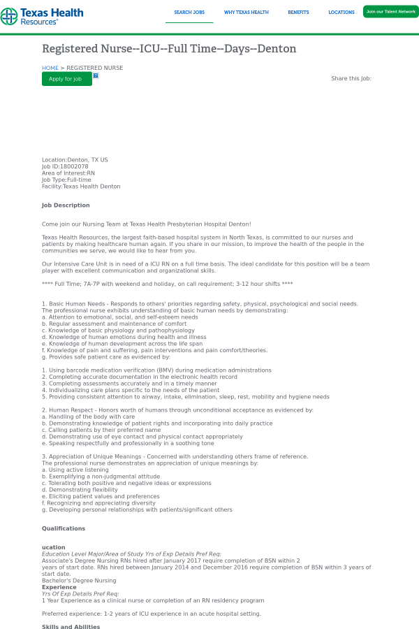 Registered Nurse - ICU - Days - Denton job at Texas Health Resources ...