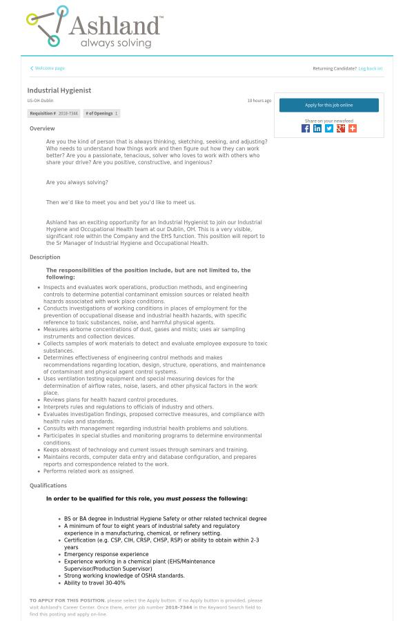 Industrial Hygienist Job At Ashland Inc In Dublin Oh 14756715