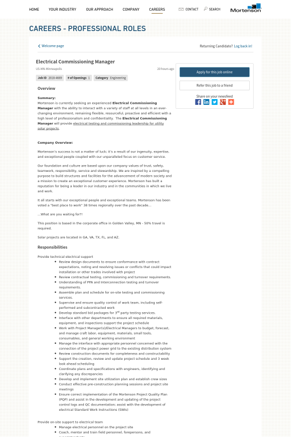 electrical missioning manager job at mortenson pany in Electrical Wiring Plan overview