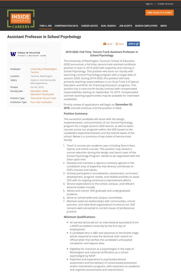 Assistant Professor in School Psychology job at University of ...