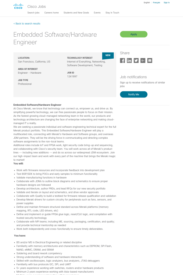 Embedded Software / Hardware Engineer job at Cisco in San Francisco